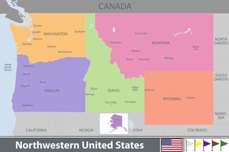 Vector set of Northwestern of United States with neighboring states