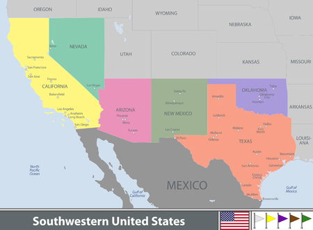 Vector set of Southwestern United States with neighboring states