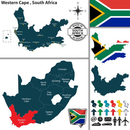 Vector map of Western Cape province and location on South African map