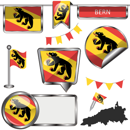 A Vector glossy icons of flag of Bern on white