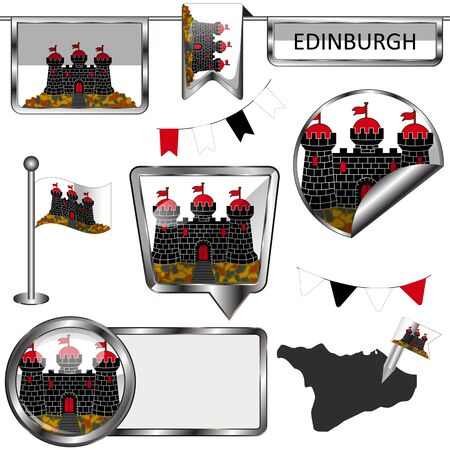 A Vector glossy icons of flag of Edinburgh on white