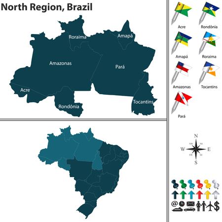A Vector set of North Region of Brazil with flags and map on white background Illustration