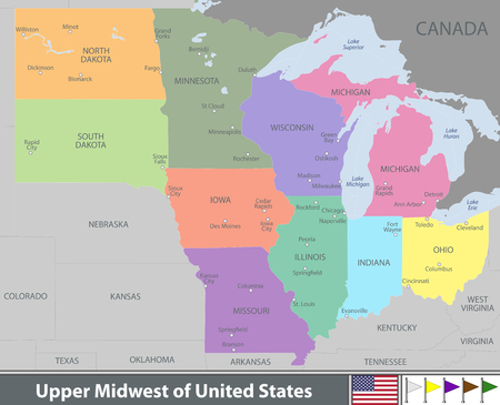 A Vector map of Upper Midwest of United States with neighboring states 일러스트