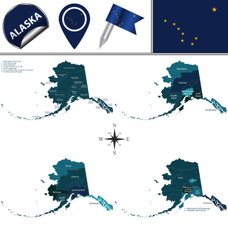 Vector map of Alaska with named regions and travel icons Illustration