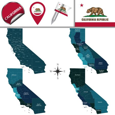 Vector map of California with named regions and travel icons Illustration