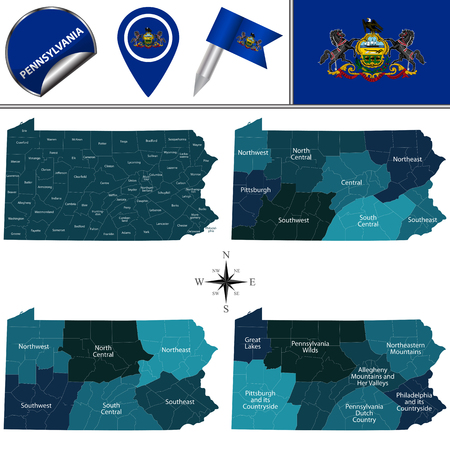 Vector map of Pennsylvania with named regions and travel icons Illustration