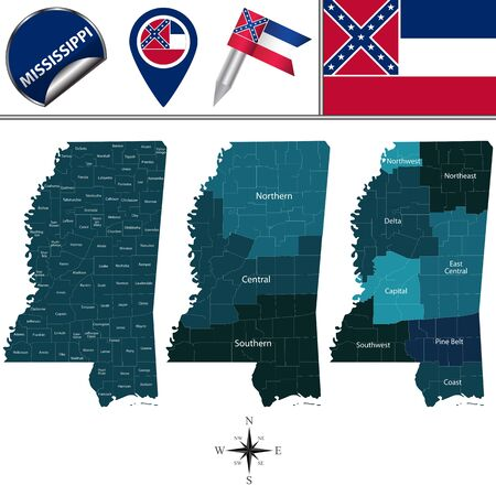 Vector map of Mississippi with named regions and travel icons