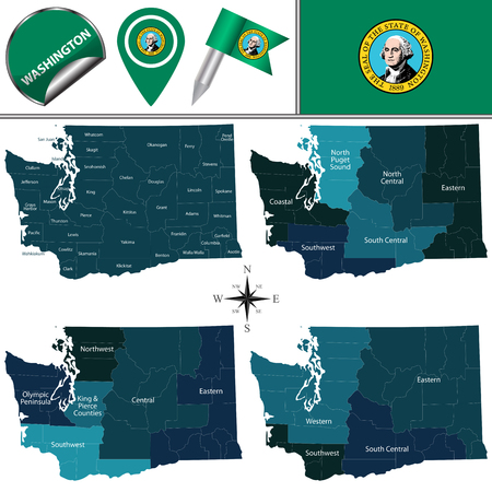 Vector map of Washington with named regions and travel icons. Banco de Imagens - 97967153