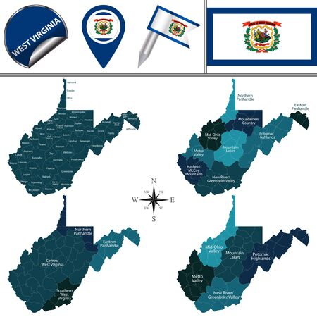 Vector map of West Virginia with named regions and travel icons  イラスト・ベクター素材
