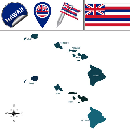 Map of Hawaii with named regions and travel vector icons. Illustration