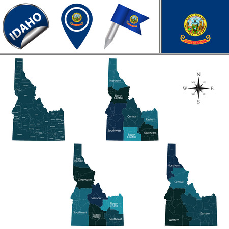 Map of Idaho with named regions and travel vector icons.