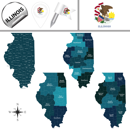 Map of Illinois with named regions and travel vector icons. Illustration