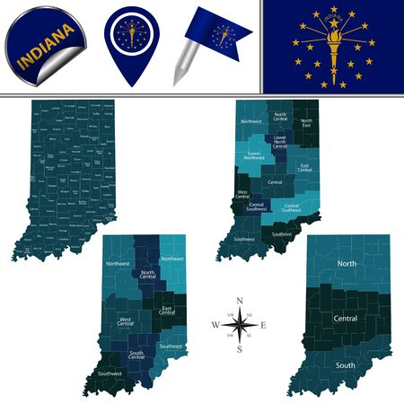 Map of Indiana with named regions and travel vector icons.