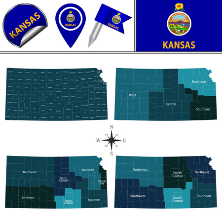 Map of Kansas with named regions and travel vector icons.