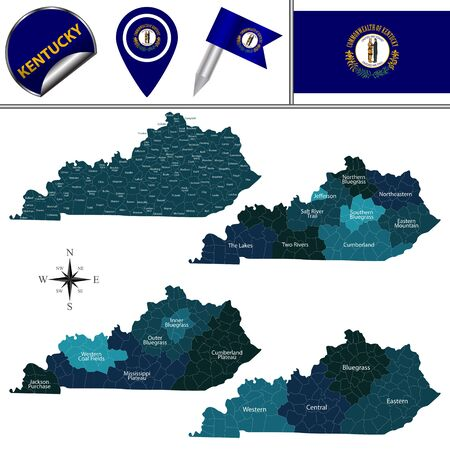 Map of Kentucky with named regions and travel vector icons.