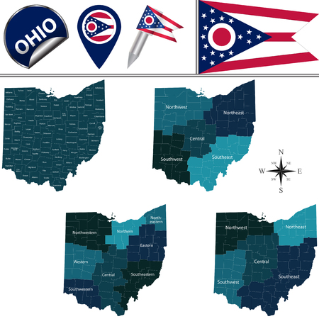 Map of Ohio with named regions and travel vector icons. Illustration