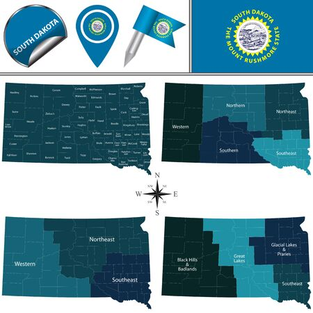Map of South Dakota with named regions and travel vector icons.