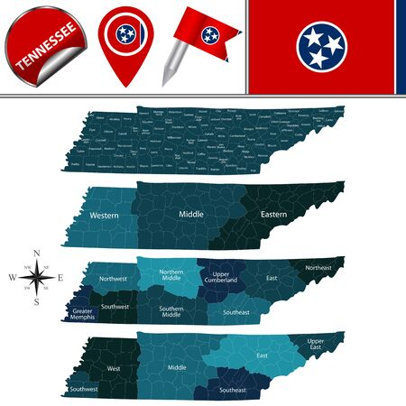Map of Tennessee with named regions and travel vector icons. Illustration