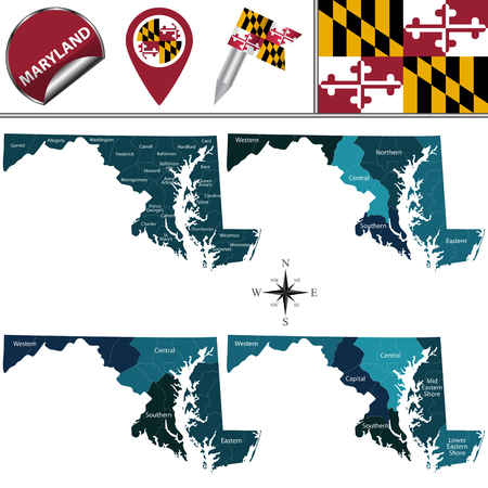 Vector map of Maryland with named regions and travel icons
