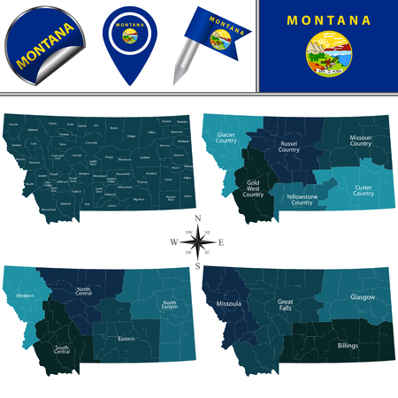 Vector map of Montana with named regions and travel icons