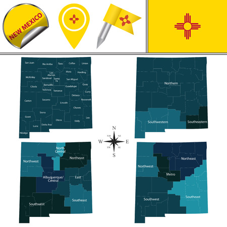 Vector map of New Mexico with named regions and travel icons