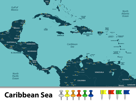 Vector map of Caribbean Sea with countries, big cities and icons