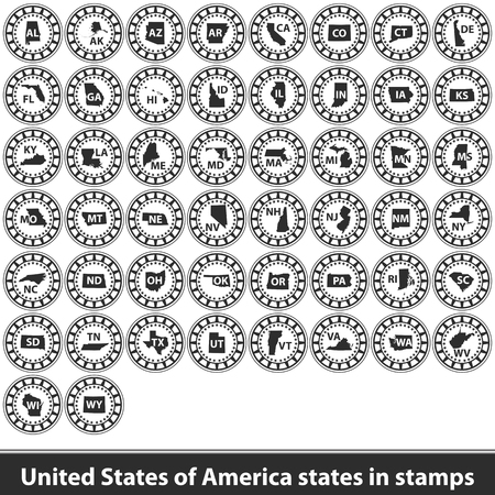 Vector of United States of America states in stamps