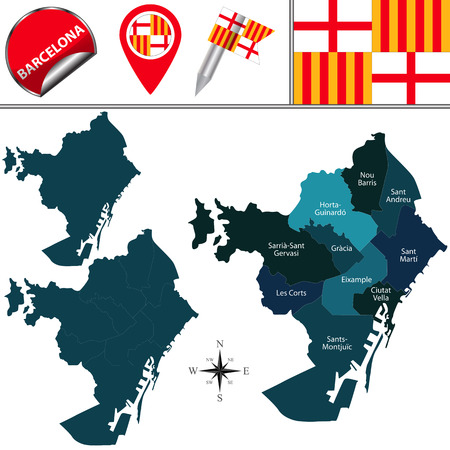 Vector map of Barcelona in Spain with named districts and travel icons Illustration