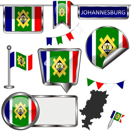 Vector glossy icons of flag of Johannesburg, South Africa on white Illustration