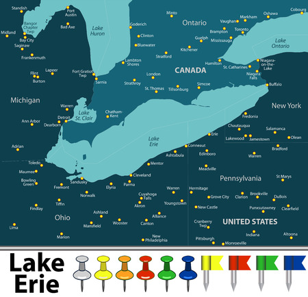 Vector map of Lake Erie with countries, big cities and icons