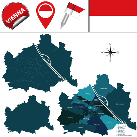 Vector map of Vienna, Austria with named districts and travel icons