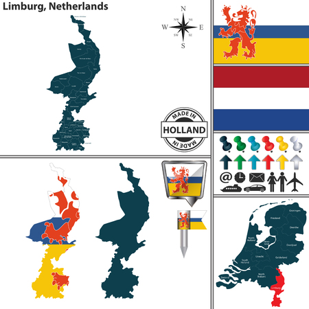 Vector map of Limburg region and location on Dutch map Stock Illustratie