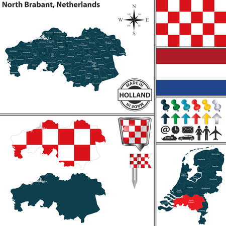 Vector map of North Brabant region and location on Dutch map