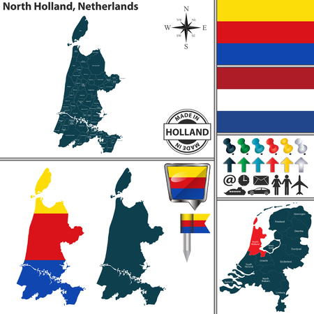 Vector map of North Holland region and location on Dutch map