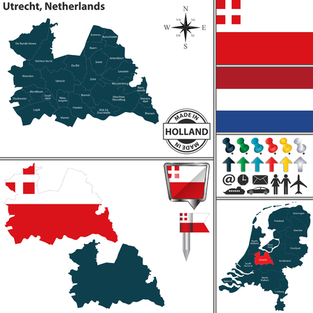 Vector map of Utrecht region and location on Dutch map