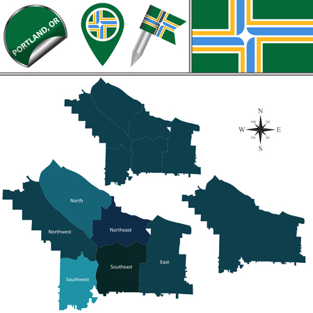 Vector map of Portland, Oregon with named districts and travel icons  イラスト・ベクター素材