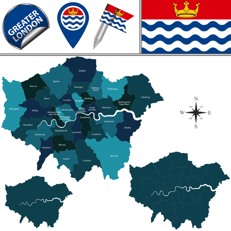 Vector map of Greater London, United Kingdom with named districts and travel icons. Иллюстрация