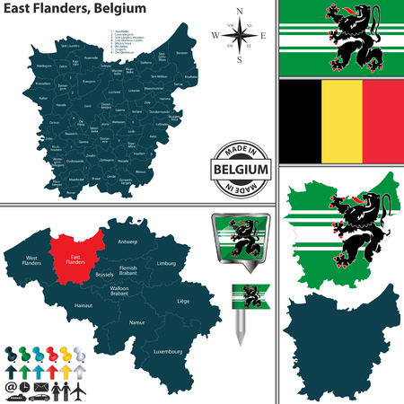 Vector map of East Flanders region and location on Belgian map