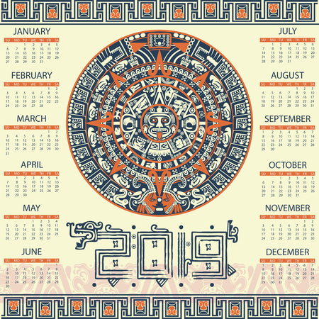 Calendario di vettore 2019 in stile azteco
