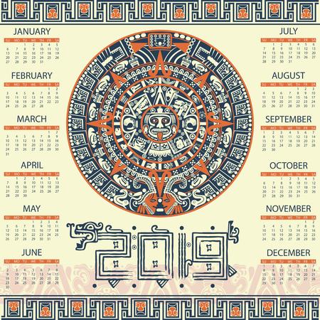 Vector calendar 2019 in aztec style