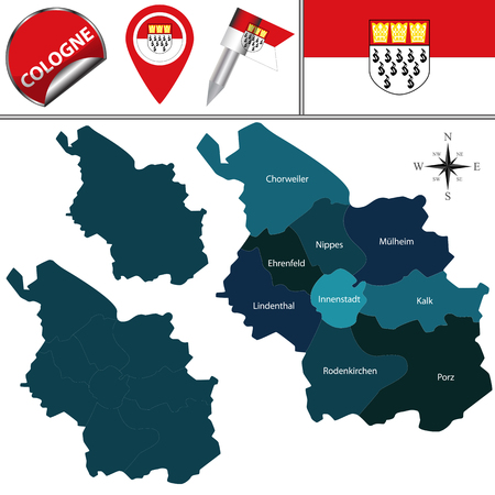 Vector map of Cologne, Germany with named districts  and travel icons Ilustração