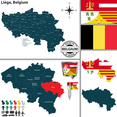 Vector map of Liege region and location on Belgian map
