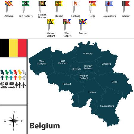 Vektorkarte von Belgien mit Regionen und Flaggen Vektorgrafik