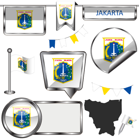 Vector glossy icons of flag of Jakarta, Indonesia Illustration