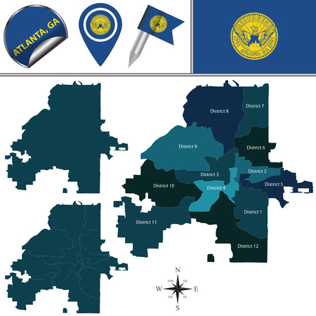 Vector map of Atlanta, Georgia with named districts and travel icons