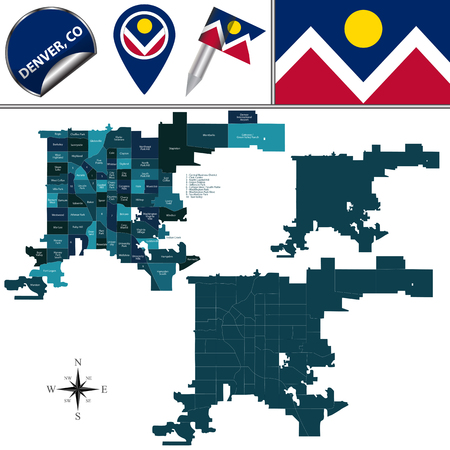 Vector map of Denver, Colorado with named neighborhoods and travel icons 일러스트