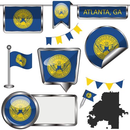 Vector glossy icons of flag of Atlanta, Georgia on white