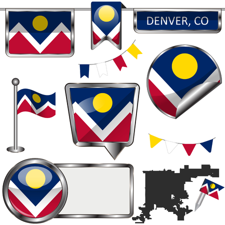 Vector glossy icons of flag of Denver, Colorado on white