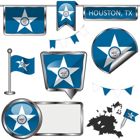 Vector glossy icons of flag of Houston, Texas on white Ilustración de vector