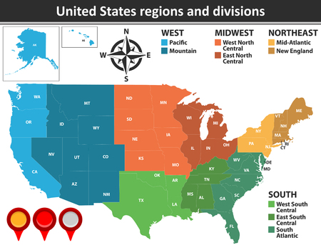 Vector map of United States with named regions and divisions